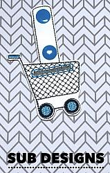 Shopping cart quarter keeper-Shopping cart quarter keeper Snap tab keyfob feltie felt embroidery design 4x4 5x7 6x10 pattern hoop small tiny mini triple bean rag raggy stitch patch in the hoop pocket vintage sketch applique planner clip paperclip book mark bookmark vinyl key fob chain quarters coin pound euro dollar sterling gold aldi goodwill grocery buggy holder pocket bags shop bag case change