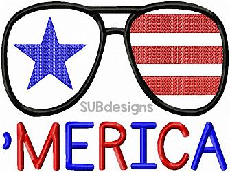'MERICA design-Machine embroidery design 4x4 5x7 6x10 8x8 8x12 pattern hoop song funny start  phrase saying girl word art lyric lyrics cowgirl cowboy country music fun tshirt idea southern america merica 4th of july fourth red white and blue stars stripes sunglasses glasses patriotic memorial day presidents day election vote voting independence day summer picnic sketch scribble floss fill stitch applique