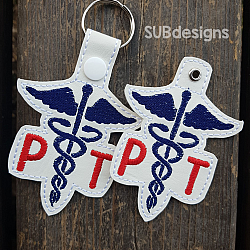 Physical Therapist-Physical therapist Snap tab keyfob feltie felt embroidery design 4x4 5x7 6x10 pattern hoop small tiny mini triple bean rag raggy stitch patch in the hoop pocket vintage sketch applique planner clip paperclip book vinyl key fob chain valentine valentines valentines day hearts block square red holiday words phrase keychain love nurse nurses doctor doctors rn cna lpn vet veterinarian assistant dentist dental hygienist gift school nurse medical cross heart physical therapy assistant PT PTA