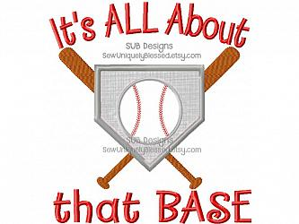 It's all about that base design-Its All About That Base Machine applique embroidery design 5x7 6x10 8x8 pattern hoop embroider bat ball sports sport team song funny mom softball soft baseball bats diamond home plate song lyrics fun meghan trainor
