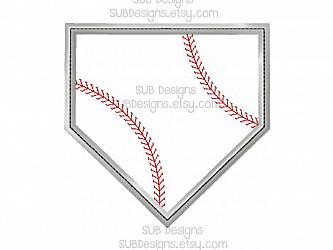 Base applique design (7 sizes included)-7 sizes Baseball base Applique Machine embroidery design 4x4 5x7 6x10 8x8 pattern hoop embroider base ball sports sport team laces monogram name home plate bases diamond bat glove mitt field player hat softball soft pocket tee