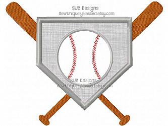 Base baseball and bats applique design-Baseball base bats Applique Machine embroidery design 4x4 5x7 6x10 8x8 pattern hoop embroider base ball sports sport team laces monogram name home plate bases diamond bat glove mitt field player hat softball soft pocket tee frame