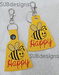 Bee Happy keychain-Bee happy Snap tab keyfob feltie felt embroidery design 4x4 5x7 6x10 pattern hoop small tiny mini triple bean rag raggy stitch patch in the hoop pocket vintage sketch applique planner clip paperclip book vinyl key fob chain keychain bees joyful creative mine valentine valentines day heart love spring summer yellow wings bug fly flying butterfly black kind nice strong brave be happy