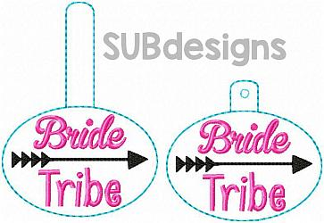 Bride tribe (includes both styles)-Bride tribe Snap tab keyfob feltie felt embroidery design 4x4 5x7 6x10 pattern hoop small tiny mini triple bean rag raggy stitch patch in the hoop pocket vintage sketch applique planner clip paperclip book vinyl key fob chain valentine valentines valentines day hearts block square red holiday words phrase keychain heart love rings jewelry wedding bridesmaid maid of honor brides groom husband wife squad arrow follow heart party wed diamond ring