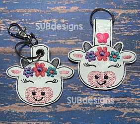 Cow flowers-Cow flowers Snap tab keyfob Horse flower feltie face peeker felt embroidery design 4x4 5x7 6x10 pattern hoop small tiny mini triple bean rag raggy stitch patch in the hoop pocket vintage sketch applique planner clip paperclip book vinyl key fob chain pony 3 flowers three daisy daisies moo bull girl boy snaptab keychain eyelet zipper pull chain charm vinyl