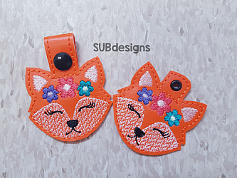 Fox flowers-Fox Snap tab keyfob Horse flower feltie face peeker felt embroidery design 4x4 5x7 6x10 pattern hoop small tiny mini triple bean rag raggy stitch patch in the hoop pocket vintage sketch applique planner clip paperclip book vinyl key fob chain pony 3 flowers three daisy daisies moo bull girl boy snaptab keychain eyelet zipper pull chain charm vinyl flowers cute cutie smile smiling barn barnyard barn yard farm farmyard animal animals crown eyelash sleep sleeping eye lash eyelashes pup dog doggy beagle spot spots flower crown head face flowers foxy orange tan girly pink
