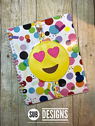 Emoji heart eyes book band-Book band oversized feltie outline silhouette felt embroidery design 4x4 5x7 6x10 pattern small tiny mini triple bean patch in the hoop applique planner clip paperclip book pen elastic diy bookmark page bird summer hair bow holder hairbow emoji emojis emojies laughing crying cry laugh smile smiling happy funny sad heart love kiss tongue stick sticking wink winky winking surprised shocked wow open mouth braces eek teeth