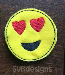 Emoji heart eyes felties (3 sizes included)-3 sizes feltie felt embroidery design 4x4 5x7 6x10 pattern hoop small tiny mini triple bean rag raggy stitch patch in the hoop vintage sketch applique planner clip paperclip book redwork emoji emojis emojies laughing crying cry laugh smile smiling happy funny sad heart love kiss tongue stick sticking wink winky winking surprised shocked wow open mouth braces eek teeth