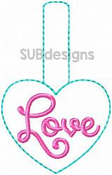 Heart love snap tab-heart love Snap tab keyfob feltie felt embroidery design 4x4 5x7 6x10 pattern hoop small tiny mini triple bean rag raggy stitch patch in the hoop pocket vintage sketch applique planner clip paperclip book vinyl key fob chain valentine valentines valentines day hearts block square red holiday words phrase keychain