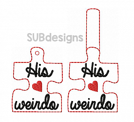 His weirdo keychain-His weirdo Snap tab keyfob feltie felt embroidery design 4x4 5x7 6x10 pattern hoop small tiny mini triple bean rag raggy stitch patch in the hoop pocket vintage sketch applique planner clip paperclip book vinyl key fob chain valentine valentines valentines day hearts block square red holiday words phrase keychain heart love puzzle piece fit her hers
