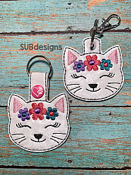 Cat flowers-Cat flowers Snap tab keyfob Horse flower feltie face peeker felt embroidery design 4x4 5x7 6x10 pattern hoop small tiny mini triple bean rag raggy stitch patch in the hoop pocket vintage sketch applique planner clip paperclip book vinyl key fob chain pony 3 flowers three daisy daisies moo bull girl boy snaptab keychain eyelet zipper pull chain charm vinyl flowers cute cutie smile smiling barn barnyard barn yard farm farmyard animal animals crown eyelash sleep sleeping eye lash eyelashes spot spots flower crown kitten kitty siamese Himalayan maine coon tabby calico
