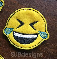 Emoji laughing felties (3 sizes included)-3 sizes feltie felt embroidery design 4x4 5x7 6x10 pattern hoop small tiny mini triple bean rag raggy stitch patch in the hoop vintage sketch applique planner clip paperclip book redwork emoji emojis emojies laughing crying cry laugh smile smiling happy funny sad heart love kiss tongue stick sticking wink winky winking surprised shocked wow open mouth braces eek teeth
