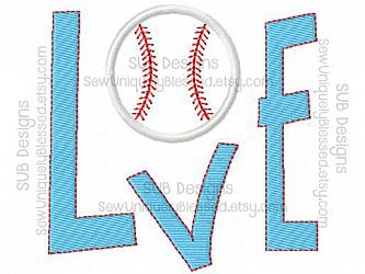 LOVE baseball softball design-LOVE Softball Baseball Machine applique embroidery design 4x4 5x7 6x10 8x8 hoop embroider valentines day base ball sports sport team heart sport square block pocket letters game balls