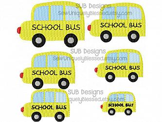 6 sizes school bus fill stitch design-6 sizes mini school bus embroidery design 4x4 5x7 6x10 felt pattern hoop shape small tiny embroider feltie accent applique hair bow ribbon miniature center filled stitch fill machine single yellow transportation truck van