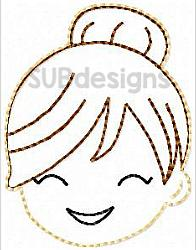 Mom bun felties (3 sizes included)-mom bun 3 sizes feltie felt embroidery design 4x4 5x7 6x10 pattern hoop small tiny mini triple bean rag raggy stitch patch in the hoop vintage sketch applique planner clip paperclip book redwork cry crying sad happy smile smiling fun funny messy bun