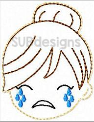 Mom bun crying felties (3 sizes included)-mom bun 3 sizes feltie felt embroidery design 4x4 5x7 6x10 pattern hoop small tiny mini triple bean rag raggy stitch patch in the hoop vintage sketch applique planner clip paperclip book redwork cry crying sad happy smile smiling fun funny messy bun
