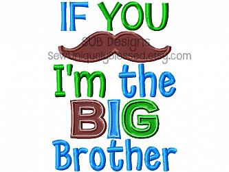 If you mustache I'm the big brother-If you mustache Im the BIG brother 5x7 6x10 8x8 pattern hoop phrase applique sibling machine embroidery design embroider applique must ask stache little lil pregnancy announcement sister bro baby saying word art gift baby shower sis