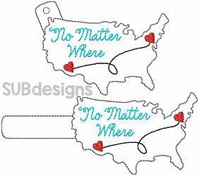No matter where keychain-No matter where USA united states of america Snap tab keyfob feltie felt embroidery design 4x4 5x7 6x10 pattern hoop small tiny mini triple bean rag raggy stitch patch in the hoop pocket vintage sketch applique planner clip paperclip book vinyl key fob chain red white blue merica stars stripes sunglasses glasses outline silhouette fourth of july 4th freedom independence day memorial day president presidents military distant distance heart hearts swirl line