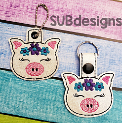 Pig flowers-Pig Snap tab keyfob Horse flower feltie face peeker felt embroidery design 4x4 5x7 6x10 pattern hoop small tiny mini triple bean rag raggy stitch patch in the hoop pocket vintage sketch applique planner clip paperclip book vinyl key fob chain pony 3 flowers three daisy daisies moo bull girl boy snaptab keychain eyelet zipper pull chain charm vinyl flowers cute cutie smile smiling barn barnyard barn yard farm farmyard animal animals crown eyelash sleep sleeping eye lash eyelashes