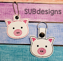 Pig-Pig Snap tab keyfob Horse flower feltie face peeker felt embroidery design 4x4 5x7 6x10 pattern hoop small tiny mini triple bean rag raggy stitch patch in the hoop pocket vintage sketch applique planner clip paperclip book vinyl key fob chain pony 3 flowers three daisy daisies moo bull girl boy snaptab keychain eyelet zipper pull chain charm vinyl flowers cute cutie smile smiling barn barnyard barn yard farm farmyard animal animals crown eyelash sleep sleeping eye lash eyelashes
