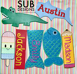 SET of 7 popsicle holders-popsicle ice cream holder cooler felt in the hoop embroidery design embroider mermaid tail tale fish fishy catfish otter pop otterpop summer beach pool kids  rectangle plain square tall neoprene vinyl felt fleece shark fin tale tail alligator rainbow popsicle pop otter pop pencil school