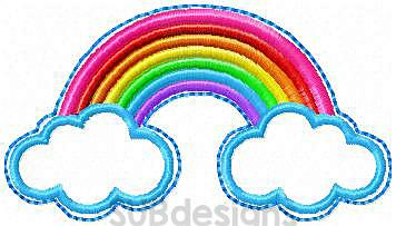 Rainbow felties (3 sizes included)-3 sizes rainbow feltie felt embroidery design 4x4 5x7 6x10 pattern hoop small tiny mini triple bean rag raggy stitch patch in the hoop vintage sketch applique planner clip paperclip book summer