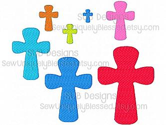 7 sizes cross fill stitch rounded design-7 sizes mini cross embroidery design 4x4 5x7 6x10 felt pattern hoop shape small tiny embroider feltie accent applique hair bow ribbon miniature center filled stitch fill machine single 8x8 9x9 church inspirational christian rounded square easter 1