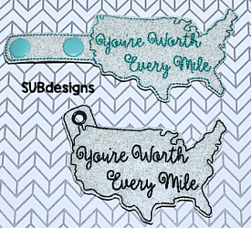 You're worth every mile USA snap tab-youre worth every mile you are USA united states of america Snap tab keyfob feltie felt embroidery design 4x4 5x7 6x10 pattern hoop small tiny mini triple bean rag raggy stitch patch in the hoop pocket vintage sketch applique planner clip paperclip book vinyl key fob chain red white blue merica stars stripes sunglasses glasses outline silhouette fourth of july 4th freedom independence day memorial day president presidents military